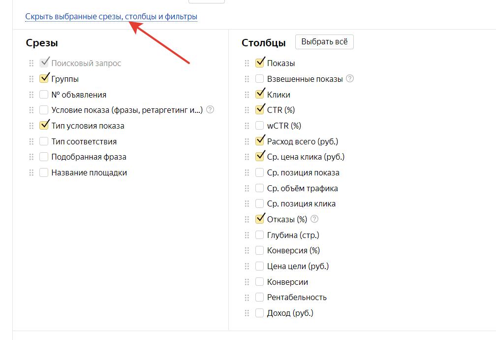 Минус слова в Яндекс Директ